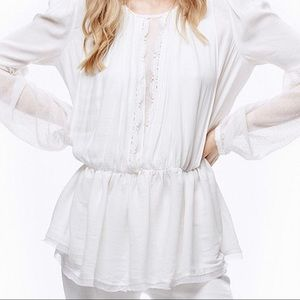 FREE PEOPLE THE SOULD SERENE MESH SLEEVE BLOUSE XS